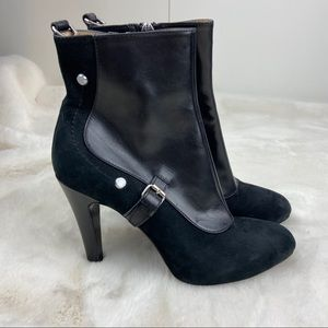 Longchamp Balzane Leather & Suede Ankle Booties 36
